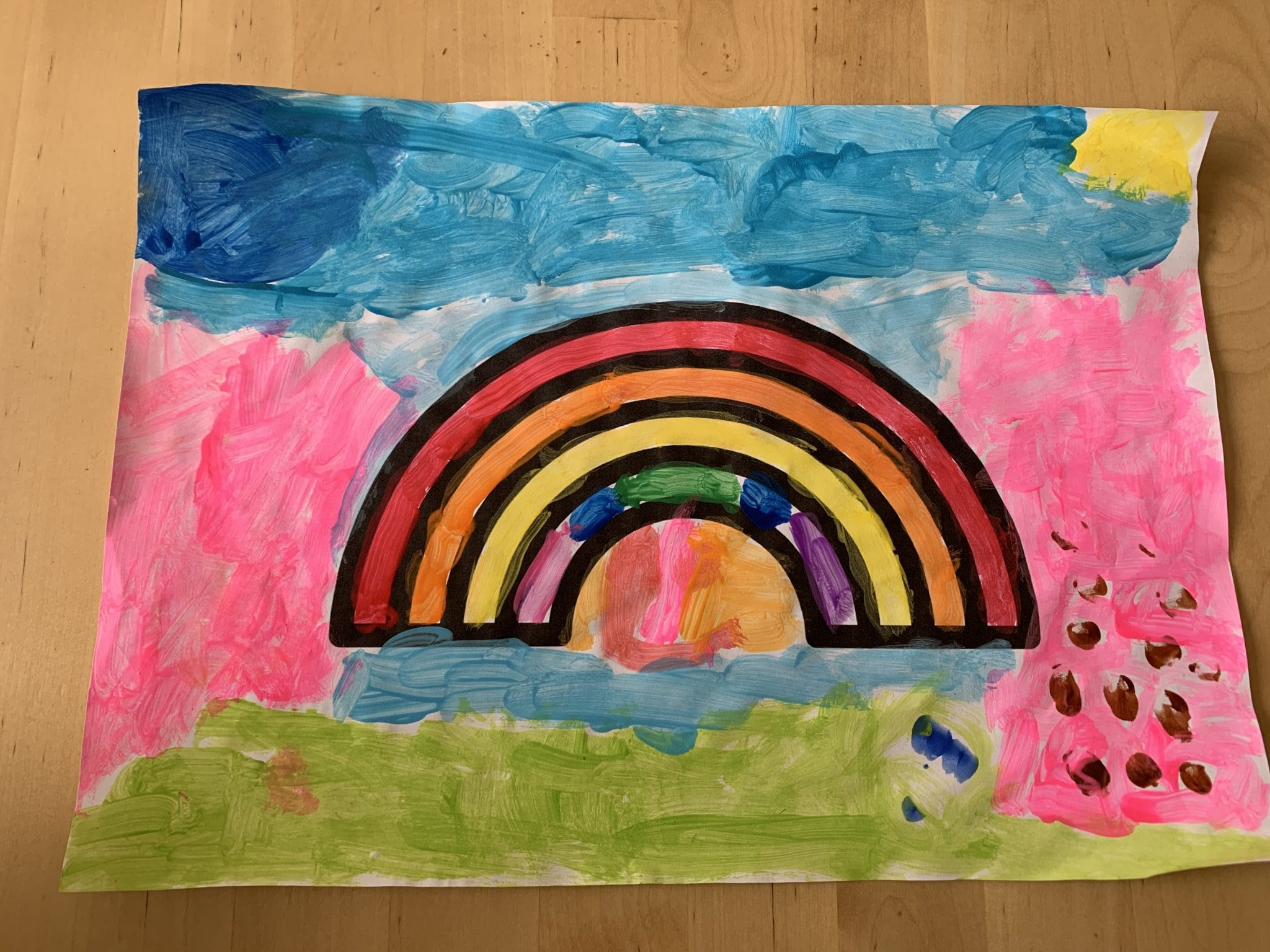 "Esme JI Ms McGuinness ""Esmé painted a rainbow which we put on the window as a thank you to all frontline workers"""
