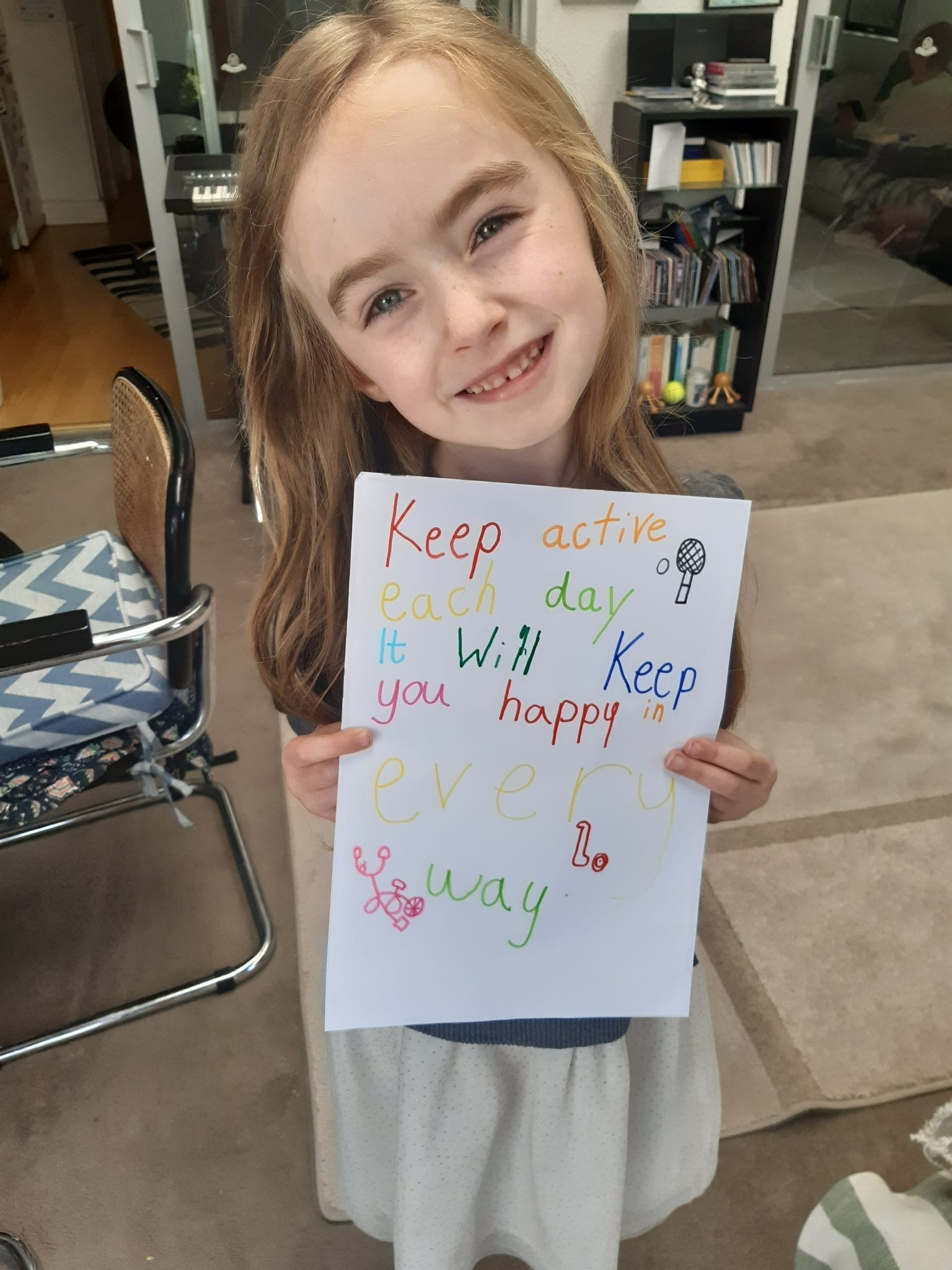 """Lucy Sr Inf Ms Durkan """"I made a poster to hang on my window for active week"""""""